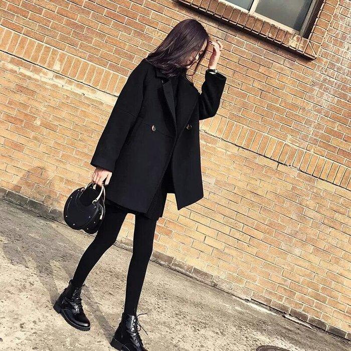 【手滑必備款😍】韓-黑色毛呢外套 長大衣 寬鬆中長款 爆炸💯顯瘦羊毛呢大衣 有型氣質【S~2XL】