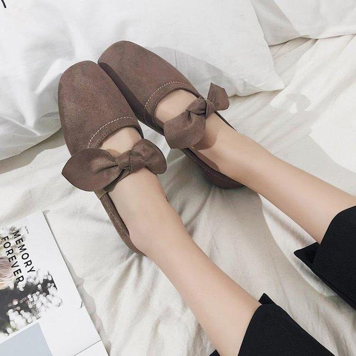 2018春季新款韓版百搭蝴蝶結淺口方頭單鞋女復古奶奶鞋平底豆豆鞋