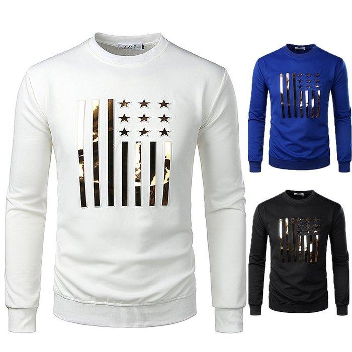 『潮范』  N4 新款圓領薄款套頭衫 五角金星幾何圖案T恤 條紋T恤 打底衫 長袖T恤
