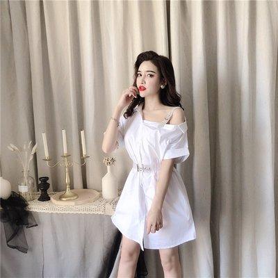 韓版 平口T恤 一字肩 女V領上衣顯瘦純色亮晶晶露肩中長款襯衫連衣裙
