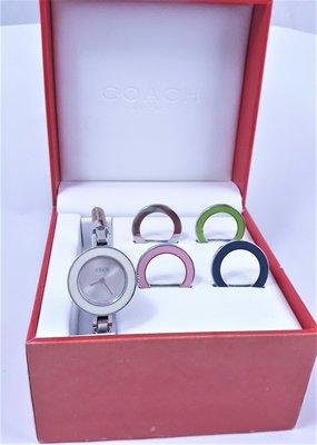 【Jessica潔西卡小舖】SWIS MADE正品時尚COACH石英腕錶,附5個替換圈圈,原裝錶盒