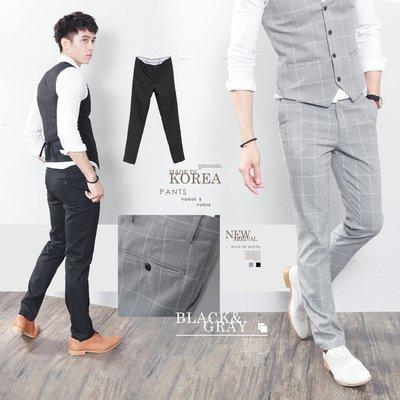 。SW。【K32133】正韓MR 韓國製 修身顯瘦 質感 彈性西裝布 窄版 雅痞紳士 格子 西裝褲