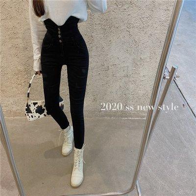 新品限時優惠到11/02 復古時尚丹寧緊身長褲 排釦高腰彈力超顯瘦牛仔褲 艾爾莎【TAE8582】