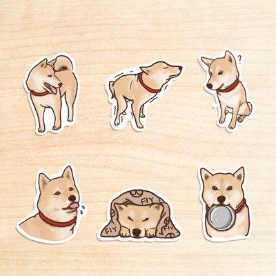 《柴犬III》/ 原創-防水貼紙包 1組(6入)  / 蒼蠅星球 / 手創市集