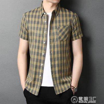 2020夏季格子短袖襯衫男半袖韓版休閒男裝夏天薄款襯衣外套有口袋 可開發票