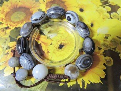 【玉靈石】天然天眼珠手鍊(大小約13~22mm)手圍可調整/附收藏盒/非/一元起標無底價//--M018