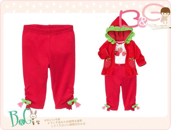 【B& G童裝】正品美國進口GYMBOREE Tulip Crop Legging 鬱金香吊飾紅色彈性長褲6-12-18mos