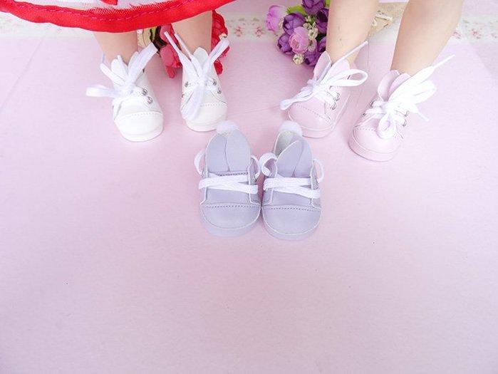 【小黑妞】迪士尼公主沙龍娃娃40公分以下可穿-可愛毛球兔子鞋(不含娃娃)【現貨】