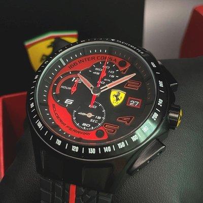 FERRARI法拉利男錶,編號FE00015,44mm黑圓形精鋼錶殼,黑色三眼, 運動錶面,深黑色矽膠錶帶款