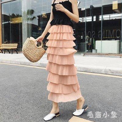 ZIHOPE 蛋糕裙 雪紡半身裙2019新款高腰顯瘦氣質百褶裙超長包臀裙修身塔裙ZI812