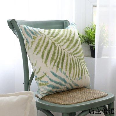 現代簡約芭蕉綠色植物棕櫚樹葉手繪棉麻抱枕被時尚沙發靠墊不含芯
