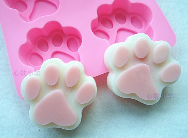 心動小羊^^韓國新品6聯矽膠模具/超美-DIY手工皂模具/香皂模具/可愛貓爪(滿99元可加購)