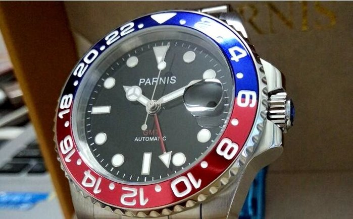 Parn*is 自動機械藍紅圈單向轉動水鬼40釐藍寶面鋼錶兩地時計GMT 四針錶非配那海rolex mk