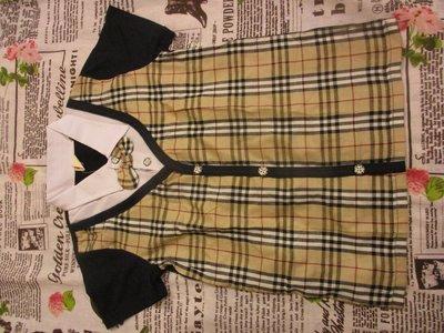 全新童裝便宜大出清--學院風  經典格紋蝴蝶結短袖襯衫