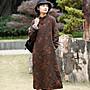 【子芸芳】加絨加厚袍子冬季保暖文藝印花棉麻連衣裙復古盤扣立領裙