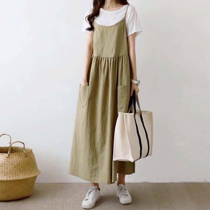 美麗喵。現貨。韓國製  細肩吊帶 前雙口袋 棉麻背心長洋裝(3色)