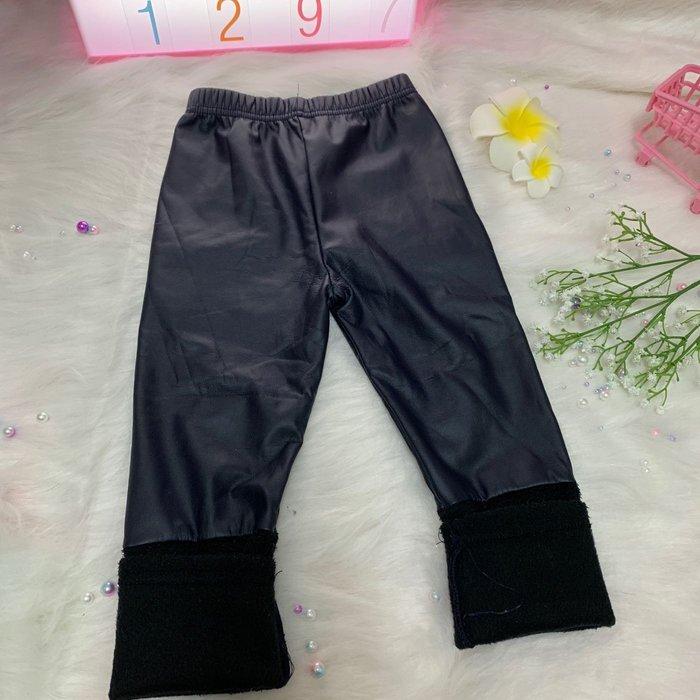 「二手」-正韓 韓國兒童帥氣鋪絨保暖皮褲