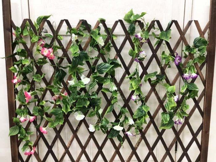 仿真牽牛花 喇叭花 藤蔓造型 花草牆 人造藤蔓 人造花園 裝飾 草花陽台 造景牆面 人造牽牛花(200公分*18花