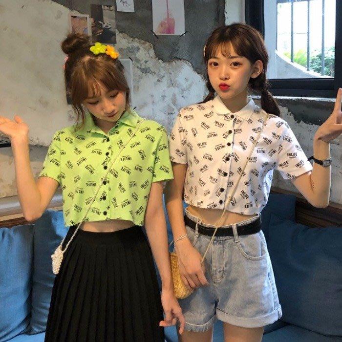 小香風 短袖T恤 時尚穿搭 小清新甜美 顯瘦 字母印花單排扣POLO領短款短袖T恤女
