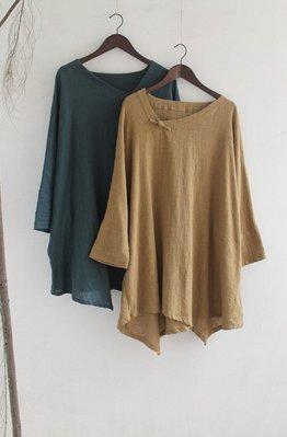 (老銀屋)秋裝簡約九分袖斜領寬鬆上衣