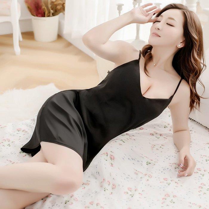 性感 睡衣 正韓春夏季黑色短款絲質性感睡衣女絲綢吊帶冰絲睡裙情趣火辣極度誘惑