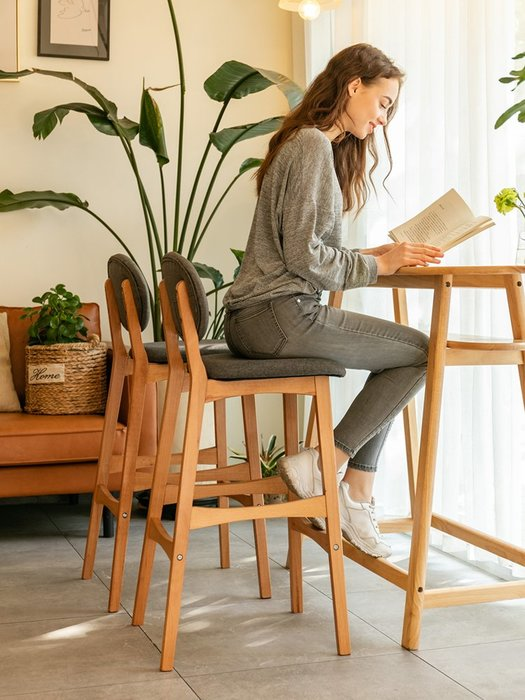 實木吧臺椅創意酒吧椅靠背吧椅現代簡約吧臺凳高腳凳子家用高腳椅吧檯高腳凳
