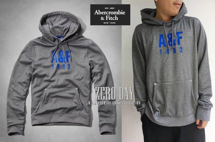 【零時差美國時尚網】A&F Abercrombie&Fitch Active Pullover耳機孔運動連帽T-灰色