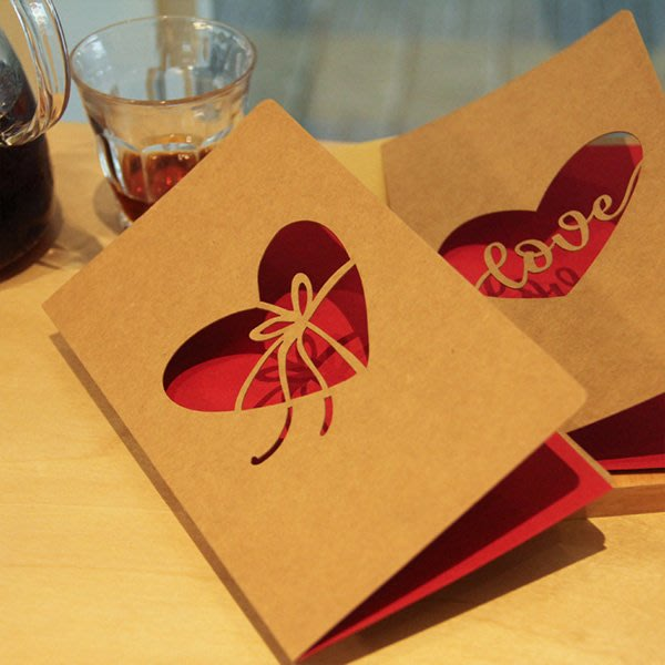 《Jami Honey》【JC3148】牛皮紙裸空紅色LOVE母親節賀卡 感謝卡片