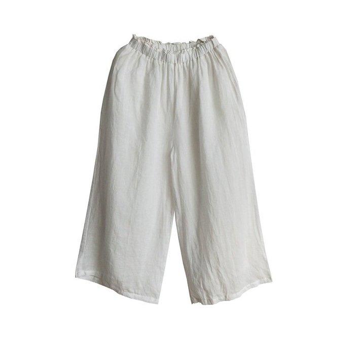 (老銀屋)七分~九分闊腿褲/夏季鬆緊腰麻質加內襯休閒褲