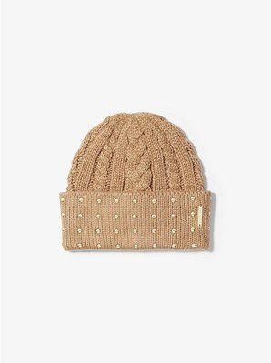 MICHAEL KORS Studded Cable-Knit Beanie Hat