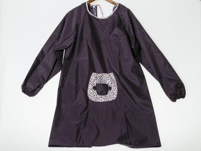 防水全棉長袖圍裙 工作圍裙 工作服 罩衣 – 深紫 FA-38792