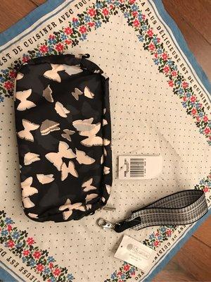 全新Lesportsac 台灣藍鐘公司貨。蝴蝶翩翩飛舞小型隨身包附+另購買的精緻掛帶