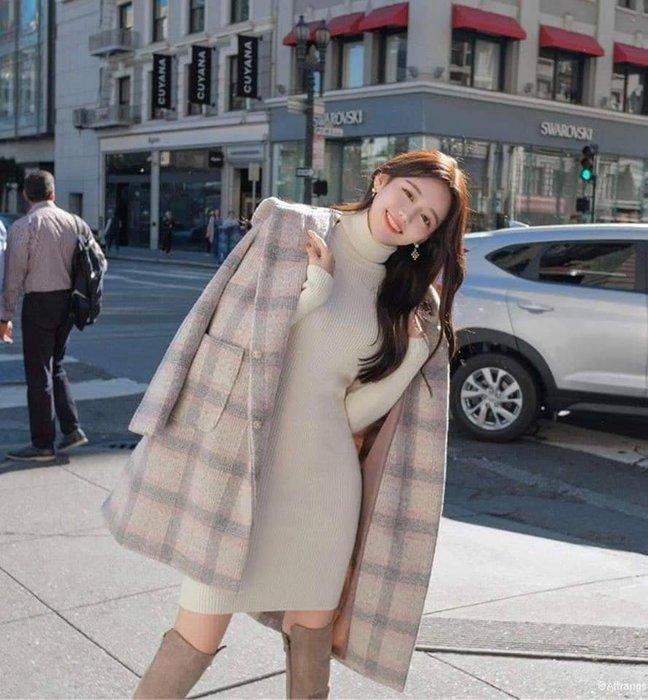 好物推薦,韓國正品預購,溫柔氣息 羊毛配色連帽格紋外套