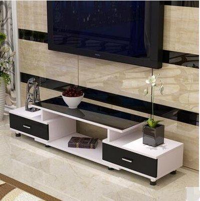 【源生活】雅耐鋼化玻璃伸縮電視櫃茶幾組合簡約現代歐式小戶型客廳電視地櫃0*(D款白+黑+黑)主圖款`7508