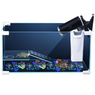 現貨/超白玻璃烏龜缸帶曬臺水陸桌面魚缸包邊大型中型小型巴西龜養龜缸  igo/海淘吧F56LO 促銷價