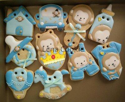 可接急單 收涎餅乾 猴寶寶系列 10片 男寶寶  糖霜餅乾 生日禮物 手工餅乾 不挑款(Lena Cookie)