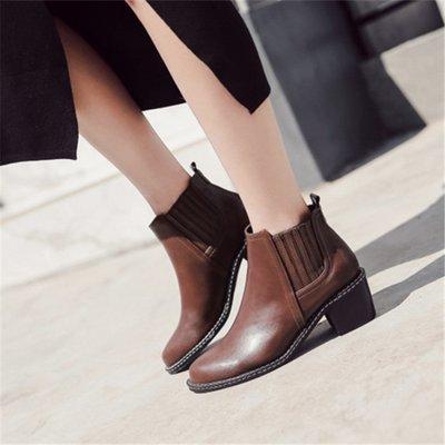 加絨女鞋冬季2018新款短靴女粗跟復古馬丁靴女英倫風切爾西靴子女