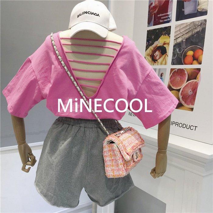 MiNE SHOP韓國 M9620-6實拍 寬鬆露背心機顯瘦T恤 四色 均碼
