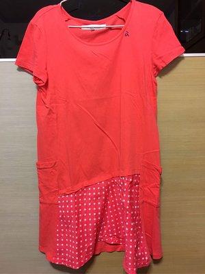 A la sha紅色拼接點點洋裝