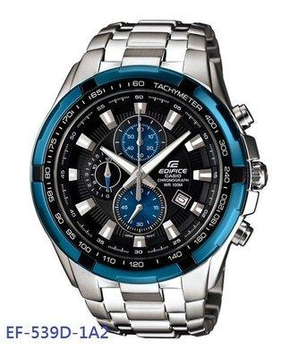 ~元電~~CASIO 專賣~EF~539D~1A2 計時碼錶、視距儀、防水100米 三圈:秒針、碼錶時針、碼錶分針