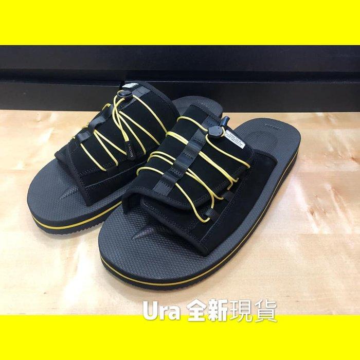 【URA 全新現貨】2019 SUICOKE 全黑 黑底黃線 休閒拖鞋