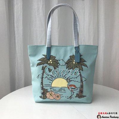 美國大媽代購 COACH 寇馳 28077 簡約時尚 海灘火烈鳥綠色托特包 手提包  美國代購