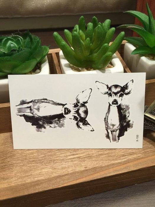 【萌古屋】X系列小鹿班比X-150 - 男女防水韓風簡約紋身貼紙原宿刺青貼紙