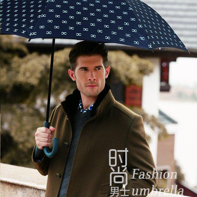 奇奇店-雙C滿版印刷長柄傘防風雙人紳士商務晴雨傘迎賓高爾夫傘#加固 #小清新 #晴雨兩用