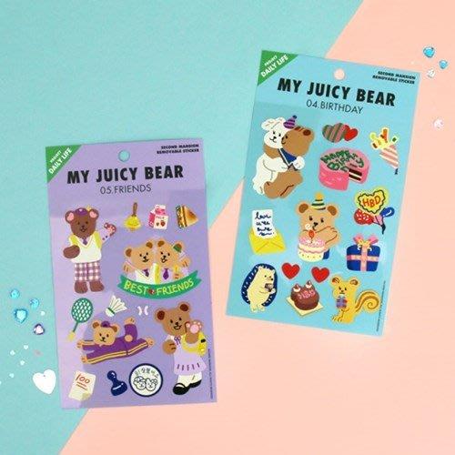 好心情日韓正品雜貨『韓國 SECOND MANSION』Daily Life系列 熊熊無痕裝飾貼紙~8款
