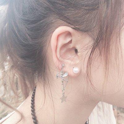 新款飾品ins風個性女耳環韓國氣質長款珍珠耳骨夾星星耳釘耳夾冷淡風超仙