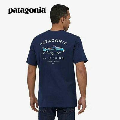 美國patagonia魚T恤有機棉T恤Framed Fitz Roy38529夏季短袖休閒棉T恤(背面魚LOGO)保證真