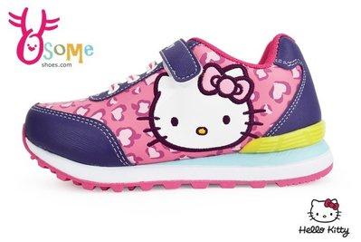 Hello kitty 女童運動鞋 台灣製 包覆 防潑水 跑步鞋G7940#桃紅 OSOME奧森童鞋 零碼出清