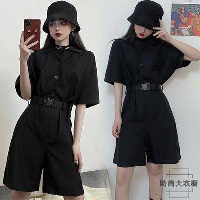 連體褲女夏韓版寬鬆黑色工裝連體套裝女連體短褲女