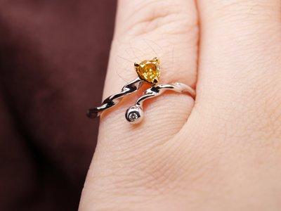 天然彩鑽 愛心橘黃彩鑽小線戒 天然鑽石 14K金鑽戒 比agete份量更足 閃亮珠寶